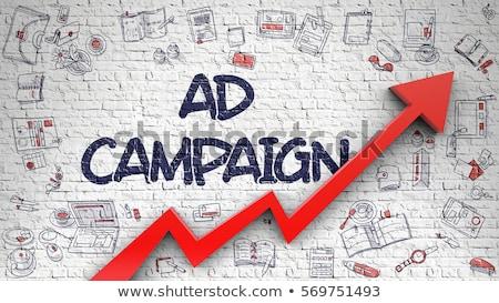 Hirdetés kampány rajzolt téglafal üzlet felirat Stock fotó © tashatuvango