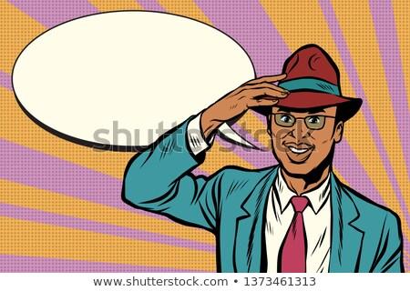 Retro afrikai üzletember el kalap pop art Stock fotó © studiostoks