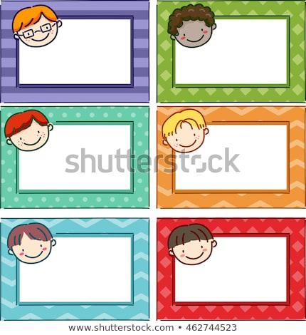 Stickman Kids Name Tag Boys Stock photo © lenm