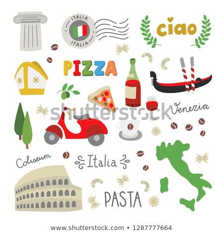 итальянский · карта · силуэта · символ · набор · продовольствие - Сток-фото © popaukropa