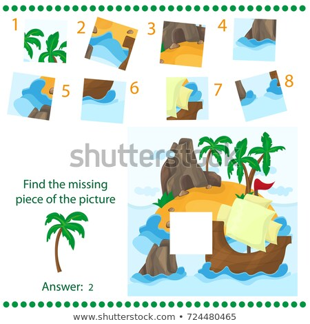Find missing piece - Puzzle game for Children - Tropical Island and Ship Stock photo © Natali_Brill