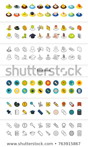 set of icons in different style   isometric flat and otline colored and black versions stock photo © sidmay