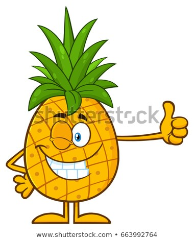 Ananas fruits vert mascotte dessinée personnage Photo stock © hittoon