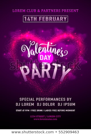 valentines day party flyer design with holiday typography letter and heart on abstract red backgroun stock photo © articular