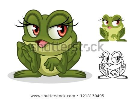 Blanc noir grenouille Homme mascotte dessinée personnage isolé Photo stock © hittoon