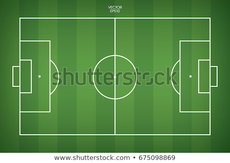 Green football field, soccer ball and team players Stock photo © orensila