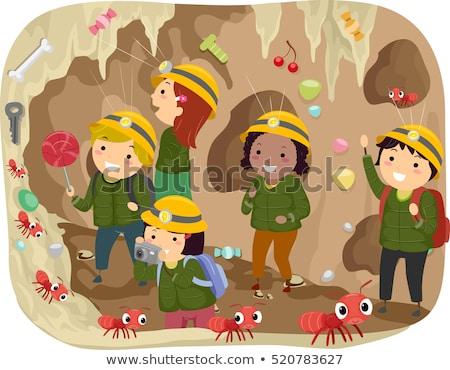Stickman Kids Tour Ant Tunnel Stock photo © lenm