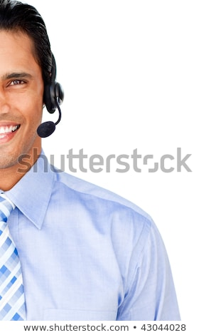 Micro portrait souriant Homme amis Photo stock © wavebreak_media