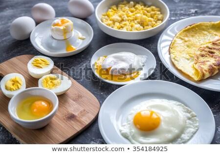 Yumurta kahvaltı sağlıklı gıda tehlikeli gıda alerji Stok fotoğraf © klsbear
