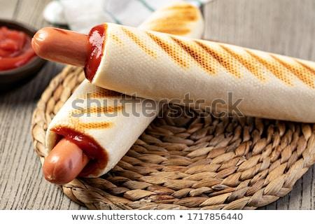 Hot Dog картофель фри древесины обеда чипа еды Сток-фото © M-studio
