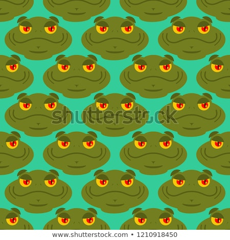 Frog seamless pattern. Amphibian ornament. Toad texture. Head of Stock photo © popaukropa