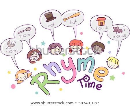 дети слов иллюстрация школы детей девочек Сток-фото © lenm