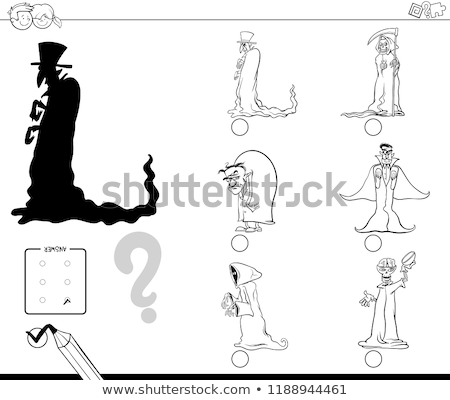 shadow game with halloween characters color book stock photo © izakowski