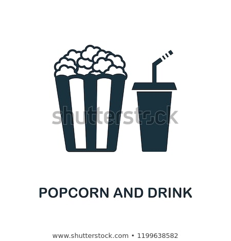 Cinema soda beber ícone fino linha Foto stock © angelp