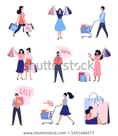 mujer · compras · silueta · aislado · blanco · nina - foto stock © rastudio