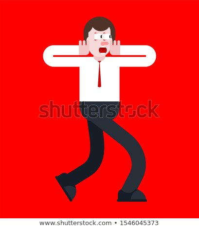 Shock guy. Panic man. mental jolt and fear Stock photo © MaryValery