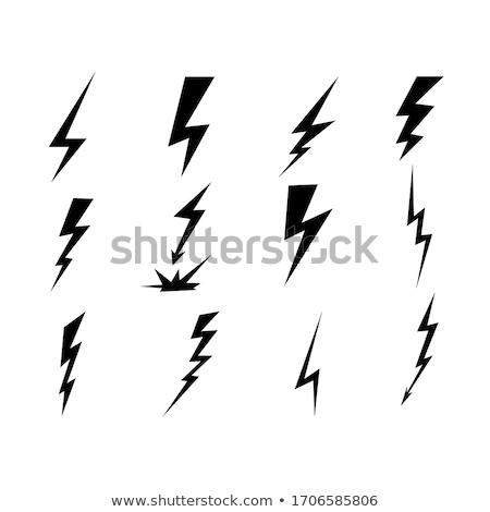 lightning vector set isolated on modern background simple icon storm or thunder and lightning strik stock photo © kyryloff