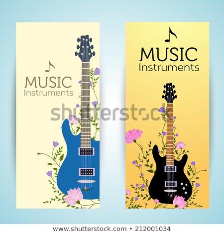 flores · guitarra · vector · vertical · banners · flor - foto stock © Linetale