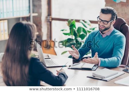 Zakenlieden sollicitatiegesprek spreken stoelen ander mannen Stockfoto © robuart