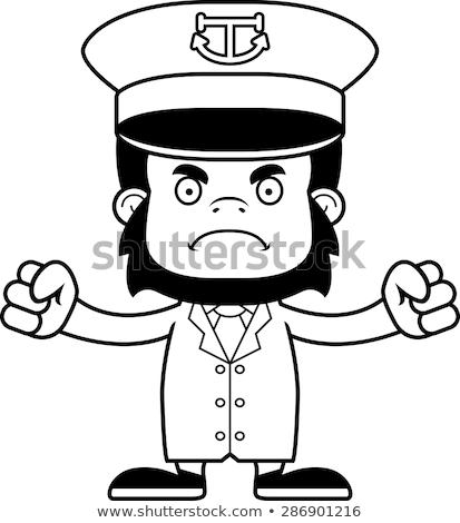 Cartoon Angry Boat Captain Gorilla Stock photo © cthoman