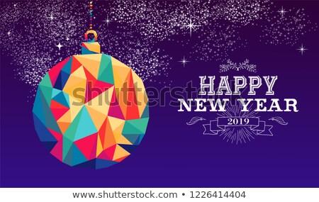Gelukkig nieuwjaar snuisterij driehoek kleur vakantie Stockfoto © cienpies