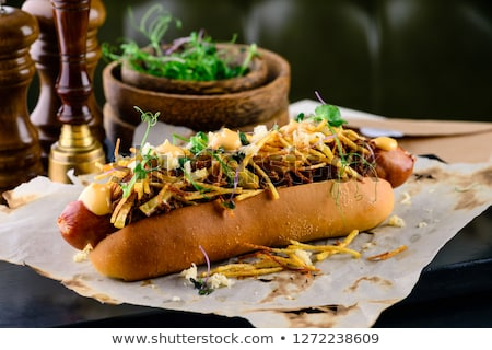 Gurmé amerikai hotdog közelkép étel szív Stock fotó © zkruger