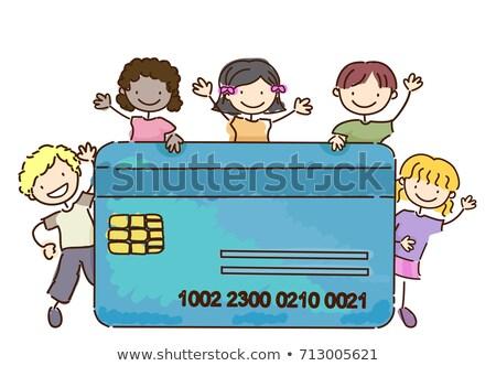 Stickman Kids Atm Credit Card Illustration Stock photo © lenm