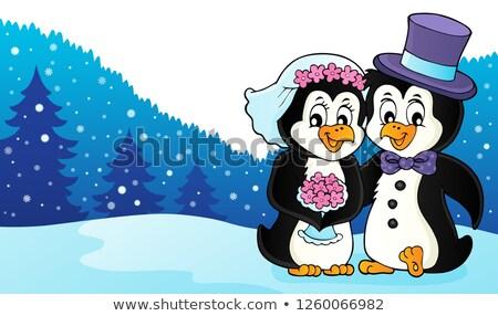 пингвин свадьба изображение цветок пару искусства Сток-фото © clairev