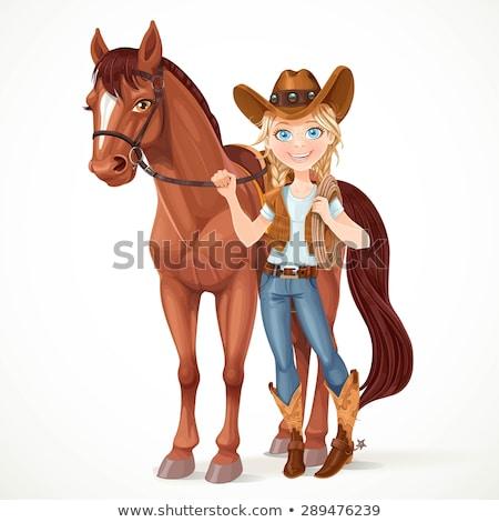 Karikatür kız kovboy gülen mutlu ayakta Stok fotoğraf © cthoman