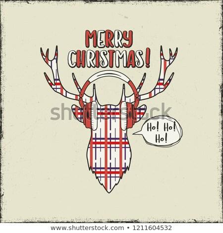 陽気な ヴィンテージ 手描き 鹿 頭 ストックフォト © JeksonGraphics