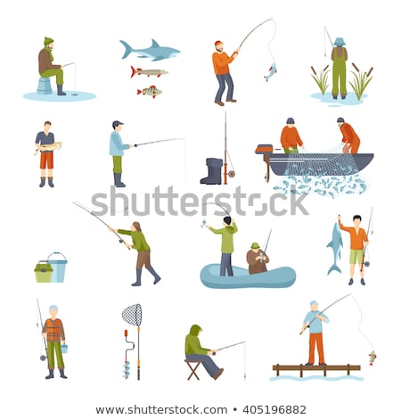 Winter Fishing, Fisherman with Rod on Ice Icon Stock photo © robuart