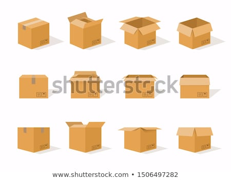 empty cardboard cartoon containers isolated icons stock photo © robuart