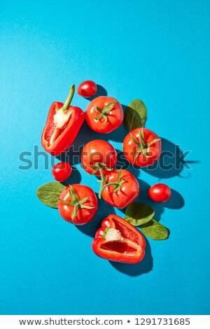 красный перец сочный помидоров шпинат листьев Сток-фото © artjazz