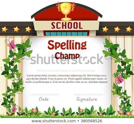 Certificate template for spelling award Stock photo © colematt