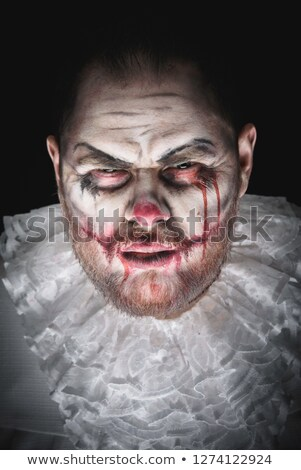 Colère homme effrayant clown halloween costume Photo stock © deandrobot
