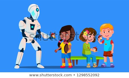 Robot Treats Children To Cakes Vector. Isolated Illustration Stock photo © pikepicture