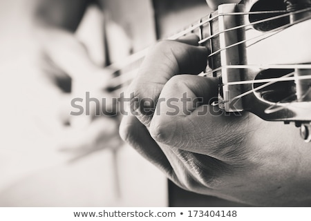 Stok fotoğraf: Musician Player Guitarist With Guitar And Notes
