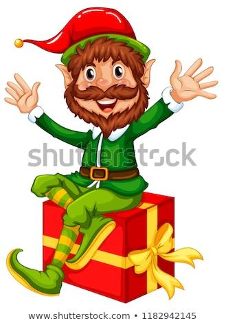 Manó ül nagy ajándék doboz illusztráció mosoly Stock fotó © colematt