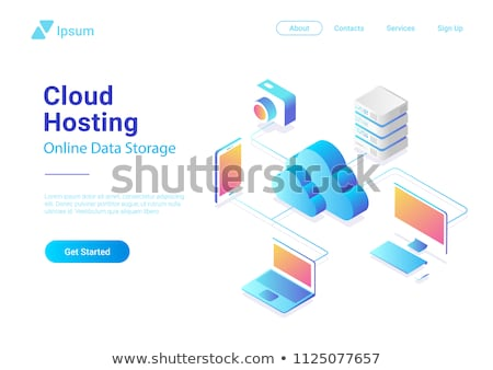 Flat icons clouds isometric, vector illustration. stock photo © kup1984