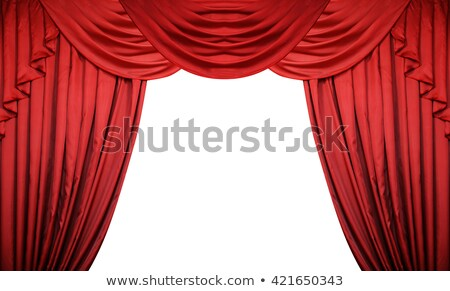 the red curtains are opening for the theater show isolated on white background stock photo © alphaspirit