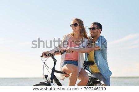 Foto stock: Feliz · equitação · beira-mar · pessoas