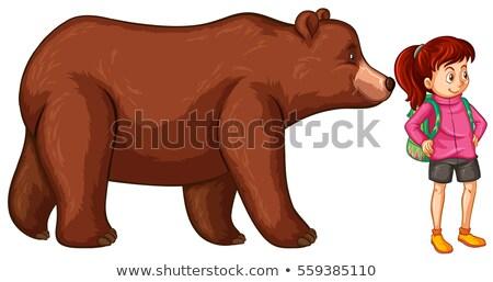 Női természetjáró grizzly medve illusztráció természet háttér Stock fotó © colematt