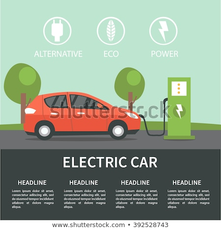 elektrikli · araba · yalıtılmış · yeşil · ikon · araba · ışık - stok fotoğraf © netkov1