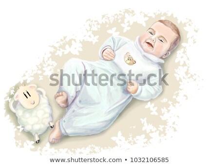 Godny podziwu mały baby niebieski bed Zdjęcia stock © bonnie_cocos