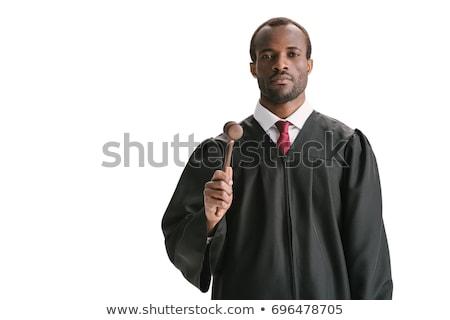 Jungen gut aussehend Richter isoliert weiß Buch Stock foto © Elnur