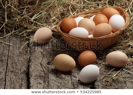 курица яйца корзины каменные таблице Пасха Сток-фото © karandaev