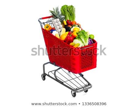 Winkelwagen voedsel vruchten peulvruchten geïsoleerd witte Stockfoto © Kurhan