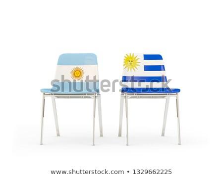 два стульев флагами Аргентина Уругвай изолированный Сток-фото © MikhailMishchenko
