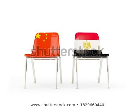 Dwa krzesła flagi Chiny Egipt odizolowany Zdjęcia stock © MikhailMishchenko