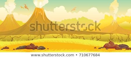 Stock fotó: Dinosaur Cartoon Prehistoric Landscape Scene